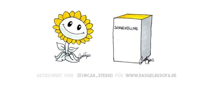 Links eine niedlich wipende Sonnenblume. Rechts ein Kasten auf dem Sonnenblume steht. Was ist der Unterschied?