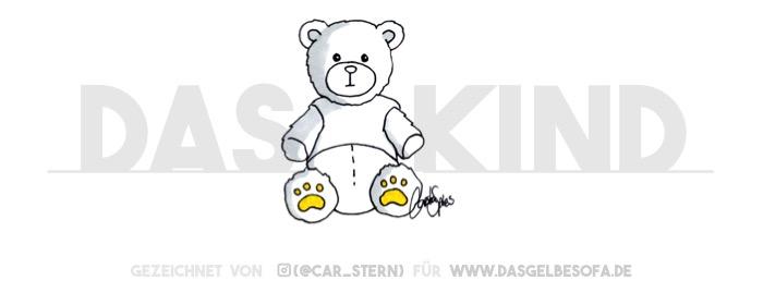 """Ein Teddy sitzt vor dem Schriftzug """"Das Kind"""". War er möglicherweise der Randale, der das auf die Wand gesprüht hat? Ach nein, hier geht es mehr um das Kind, als um den Teddy. Aber warum ist dann ein Teddy zu sehen und nicht das Kind?"""